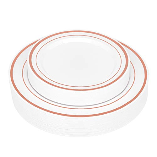 Elegant Rose Gold Rim Plastic Plates (50 Pack) | Heavy Duty Plastic Dinnerware - Fancy Disposable Plates for Weddings and Parties - Set Includes 25 Dinner Plates and 25 Salad Plates (Rose Gold Rimmed)