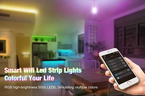 LAFULIT-LED-Strip-Lights-with-Remote-164ft-High-Brightness-150leds-WiFi-Wireless-Smart-Phone-APP-Controlled-Working-Android-iOS-SystemIFTTT-Google-Assistant