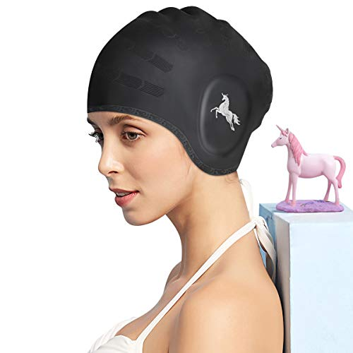 FUNOWN Swim Cap, Silicone Long Hair Swim Cap for Women, Swimming Cap for Long Short Hair Women Men with Nose Clips, Earplugs & Ear Pockets (Unicorn, Black)