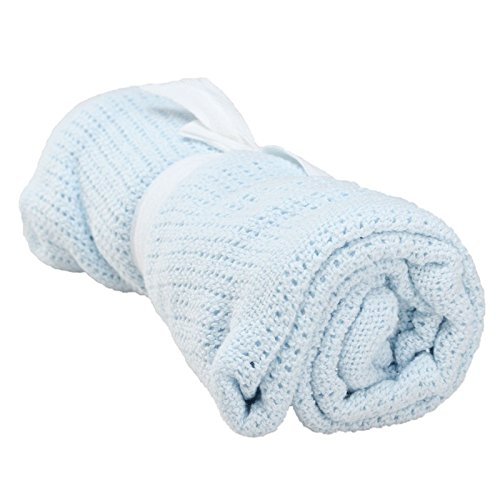 Newborn Baby Blankets Super Soft Cotton Crochet Summer 100cmX80cm Candy Color Prop Crib Casual Sleeping Bed Supplies Hole Wrap Light blue