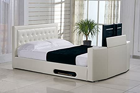 Classic Rio Ottoman TV Bed Frame Superior Ivory White Faux Leather 4FT6 Double