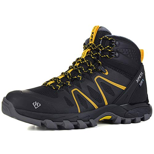 XPETI Men's Wildfire Mid Waterproof Hiking Boot Black/Yellow 12