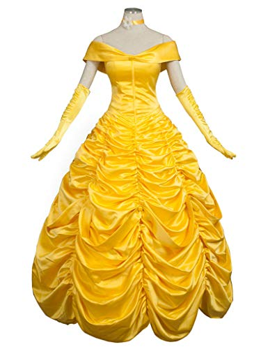 CosFantasy Princess Belle Cosplay Costume Ball Gown Fancy Dress mp002019 (Women M) Golden ()