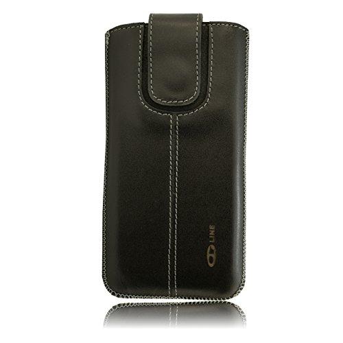 OrLine Etui Case Lederetui für Apple Iphone SE Echt Leder Case Ledertasche Tasche Lederetui mit Magnetverschluss in der Farbe schwarz/anthrazit Handarbeit