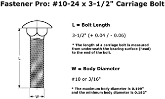 10-24 x 3-1//2 Carriage Bolt Square Neck Zinc Plated Steel Quantity 50 Full Thread Round Head