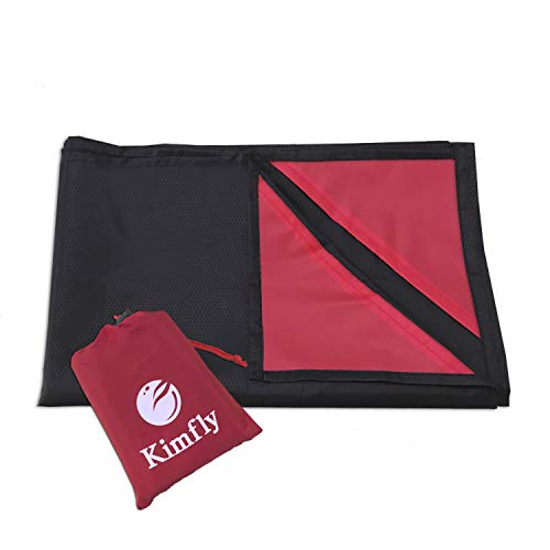 Kimfly Outdoor Beach Blanket, Waterproof Picnic Blanket, Sandproof Beach Mat Compact Pocket Blanket Travel Hiking Camping, Black (55″ x 67″) by Kimfly