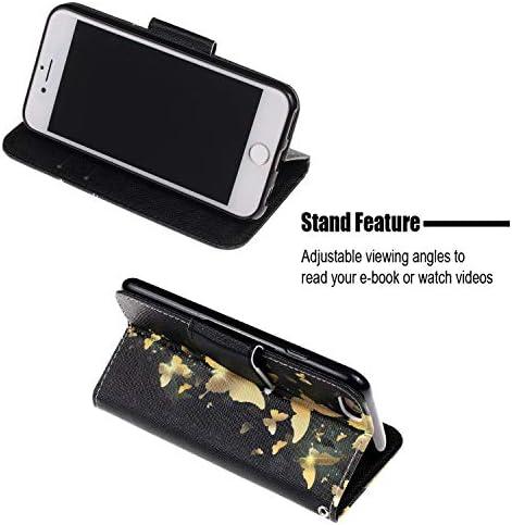 Urhause Kompatibel mit iPhone 6/6S Hülle, Gemalt Wallet Flip PU-Handyhülle mit [Kartenslots][Magnetverschluss] Ständer Funktion mit Lanyard Stoßfeste Schutzhülle,Eule