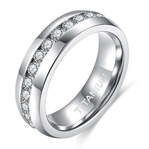 TIGRADE 6mm Titanium Ring Cubic Zirconia Engagement Ring Wedding Band (6MM, 8)
