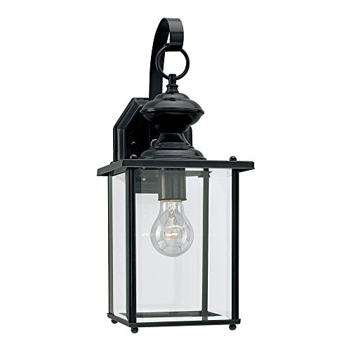 Sea Gull Lighting 8458-12 Jamestowne One-Light Outdoor Wall Lantern with Clear Beveled Glass Panels, Black Finish