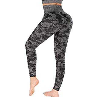 Yaavii Camo Seamless Leggings for Women High Waisted, Black, Size Small