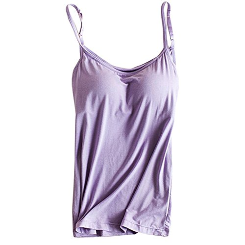 Womens Modal Built-in Bra Padded Camisole Yoga Tanks Tops SP Purple S
