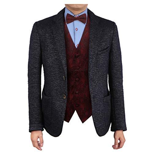 (Epoint EGE2B01C-3XL Red Vest Paisley Microfiber Tuxedo Vest Pre-tied Bow Tie Set Romance For)