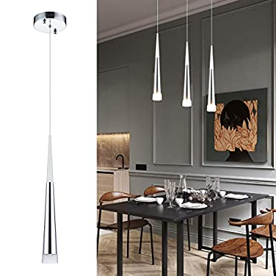 Modern Kitchen Island Pendant Lighting, Adjustable LED Cone Pendant Light with Silver Plating Nickel Finish Acrylic Shade for Dining Rooms, Living Room, 7W, Warm White 3000K