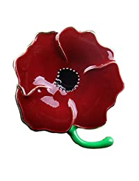 Deep Red Large Poppy Flower Brooch Lapel Badge Pin Gold Brooch for Women