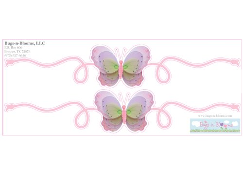 Butterfly Wall Mural Vinyl Stickers Pink Purple Green 2 Piece Scrolls Butterflies Decals Children Nursery Baby Room Decor Girls Bedroom Decorations Kid Child Murals Party Playroom Walls Home Graphics