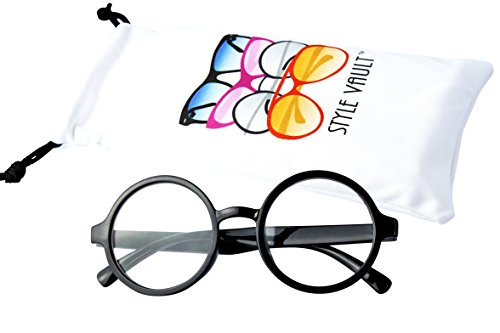 KD01 Babies infant (0~24 months old) Vintage Round Sunglasses (Black-Clear Lens, UV400)]()