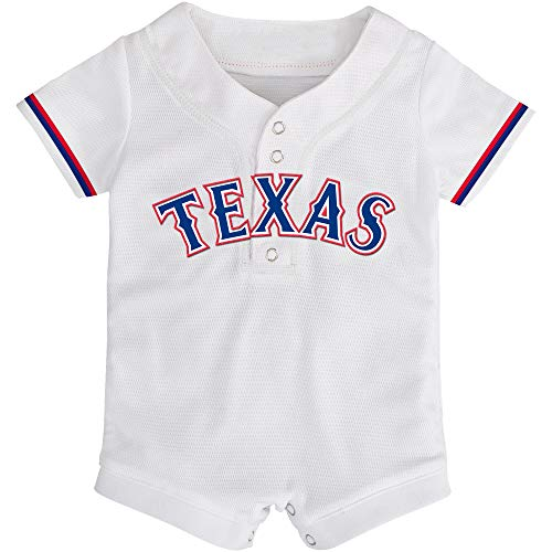Outerstuff MLB Newborn Infants Cool Base Home Alternate Romper Jersey (0/3 Months, Texas Rangers Home White)