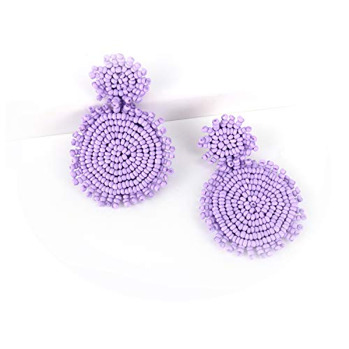 - Purple Statement Round Beaded Hoop Bohemia Earrings Handmade Whimsical Drop Earrings for Women Jewelry, Idear Gifts for Mom, Sisters and Friends
