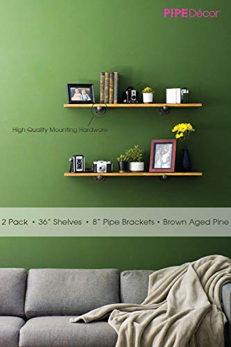 Rustic Industrial Pipe Decor Floating Shelving, 2 Pack Brown, Distressed Aged Wood and Iron Pipes Bracket, Wall Mounted Hanging Shelf, Reclaimed Barnwood Inspired by PIPE DÉCOR (Image #2)