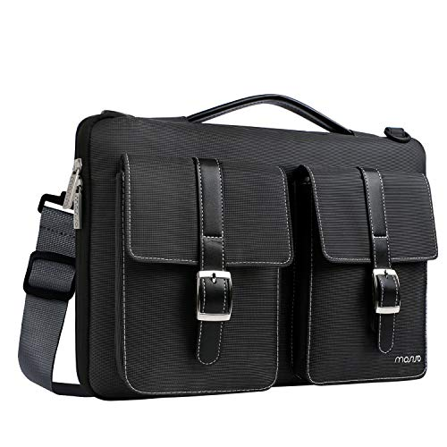 MOSISO 360° Protective Laptop Shoulder Bag Compatible 13-13.3 Inch MacBook Pro, MacBook Air with Organizer Pockets, Shockproof Spill Resistant Polyester Briefcase Handbag Carrying Sleeve, Black by MOSISO