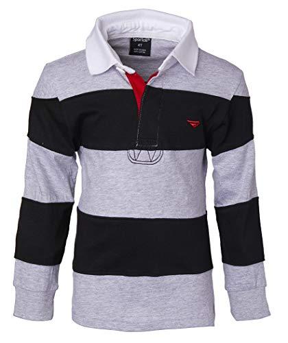 1446f7e4abe6 Sportoli Boys 100% Cotton Wide Striped Long Sleeve Polo Rugby Shirt ...