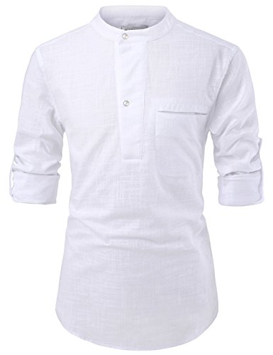 NEARKIN NKNKN381 Mens China Collar Henley Neck Roll-Up Sleeve Basic Linen Shirts White US S(Tag Size S)