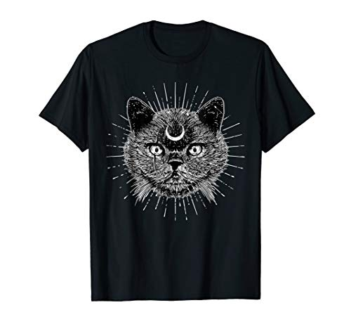 Black Moon Cat Head Gothic- Goth Fashion - Witchcraft]()