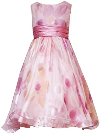 Rare Editions Girls 7-16 ROSE-PINK TONAL FLORAL SHEER OVERLAY Special Occasion Wedding Flower Girl Party Dress RRE-29070E-E429070-16
