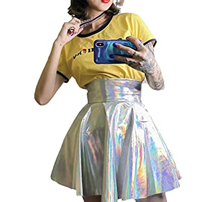 Cimeiee Womens Basic Versatile Stretchy Flared Holographic A-Line Circle Skater Skirt