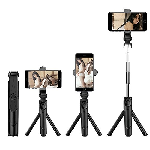 Foraco Tripod Selfie Stick, Apply to X / 8/7 / 6 / 6S Plus Android Samsung S9 S8 S7 Plus Edge 4 in 1 Mini Pocket Expandable unipod with Wireless Remote Control 360 Degree Rotation, Black by Foraco