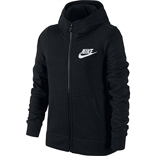 Nike Girls Sportswear Full Zip Club GFX Hoodie (Large, Black/White) by Nike