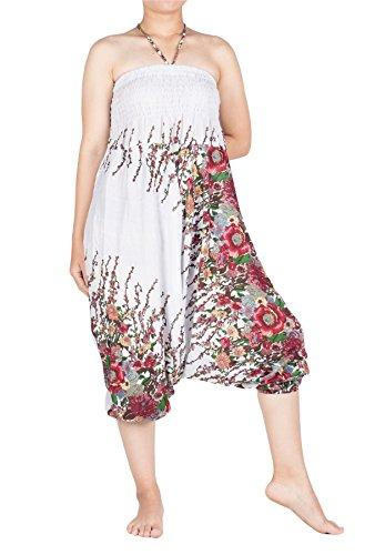 Smocked Waist 1 Floral Donna Bianco Jumpsuit Pavone Harem Lofbaz Floreale Funky da Pantaloni Elefante C7qxnnZItP