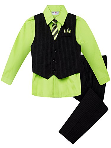 (OLIVIA KOO Boy's Colored Shirt Pinstripe 4 Piece Pinstriped Vest Set Size Infant-Boy 20 )