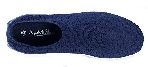 Bleu Chaussures Course Glissent Sur Hommes Les Ageemi Confortables Loisirs Sport De Fonc TwvTpBq7x