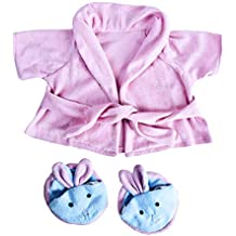 """Pink Bathrobe with Bunny Slippers Teddy Bear Clothes Outfit Fits Most 14"""" - 18"""" Build-A-Bear, Vermont Teddy Bears, and Make Your On Stuffed Animals"""