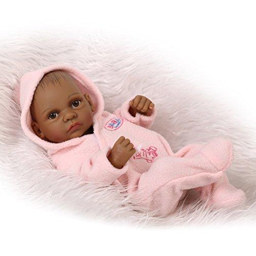 NPKDOLL Peau Reborn Bébé Bain Poupée Indien Noir Style Vinyle Silicone Simulation dur 10inch 26cm Enfant étanche Jouet Fille rose avec Yeux acryliques Baby Doll A1FR