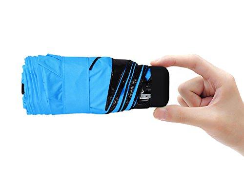Hoke Ultra Mini and Light Umbrella. 5 Folding Compact Pocket Umbrella. Travel Anti-UV Parasol. 6.8'' Length. (Blue)