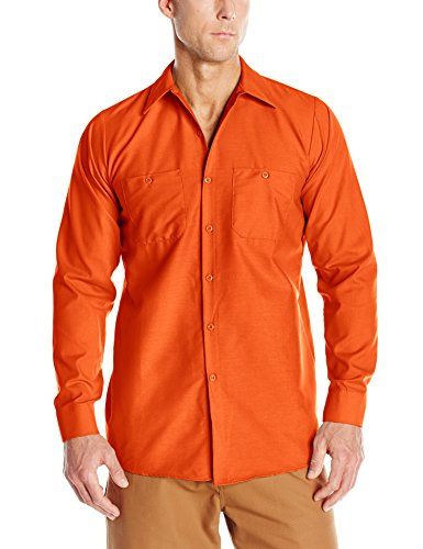 Red Kap Men's Industrial Work Shirt, Regular Fit, Long Sleeve, Orange, ()
