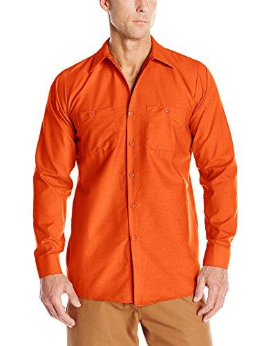 (Red Kap Men's Industrial Work Shirt, Regular Fit, Long Sleeve, Orange, X-Large)