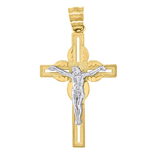 14kt Yellow and White Gold Mens Two-tone Cross Crucifix (Height with bail: 34.9mm) Religious Pendant Charm (18.7mm x 35.56mm) ()