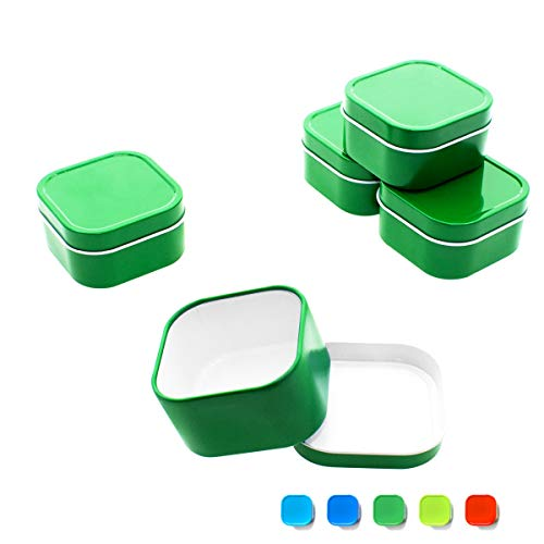 Tin Cube Favor Square - Mimi Pack 4 oz Tins 24 Pack of Square Slip Top Tin Containers with Lids For Cosmetics, Party Favors, Gifts and Food Storage (Green)