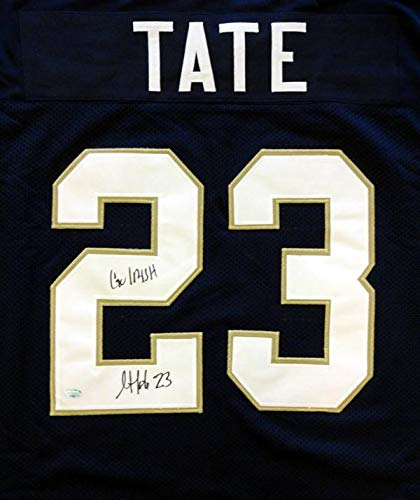 "Notre Dame Fighting Irish Golden Tate Autographed Blue Jersey""Go Irish"" MCS Holo Stock #64588 - Autographed College Jerseys"