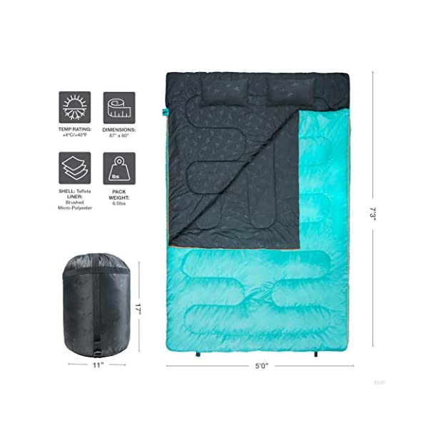 TETON Sports Cascade Double Sleeping Bag; Lightweight, Warm and Comfortable for Family Camping 6