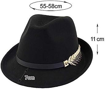 Leisial Chapeau pour Unisexes en Feutre Casquette de Jazz Bouton de Forme de Feuille en Alliage Chapeau de Gentleman Chapeau de Soleil Visi/ère Topper
