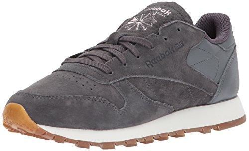 Reebok Women's CL Lthr EB Sneaker, Ash Grey/Alloy/Charming Patent, 8 M US - Reebok Suede