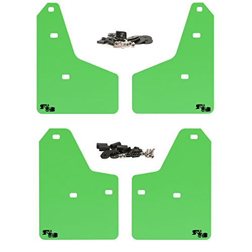 RokBlokz Mud Flaps for 2012+ Ford Focus - Multiple Colors Available - Set of 4 - Fits All MK3 Models - Includes All Hardware and Detailed Instructions (Lime Green with ()