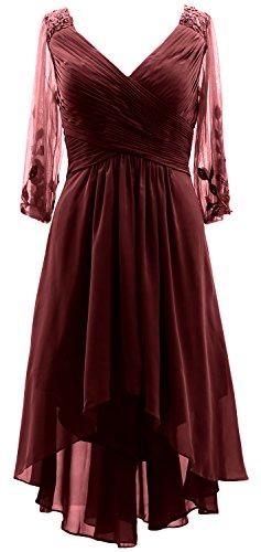 Les Femmes Macloth Manches 3/4 Robe Formelle Col V Mère Salut-lo De La Bourgogne Robe De Mariée