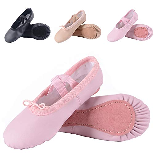 Leather Ballet Shoes for Girls/Toddlers/Kids, Full Sole Leather Ballet Slippers/Dance Shoes, Pink/Nude (Foot Length:160mm - Toddler - 9.5M US, Full Sole-Pink-Leather)