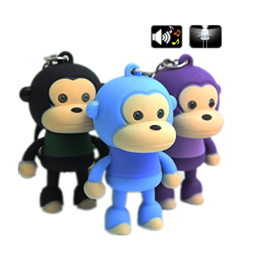 1 PCS ABS Monkey Keychain with LED Voice Cute Cartoon Keyring with Flashlight Key Chain with Sount Random Color (Cartoon Flashlight Keychain)