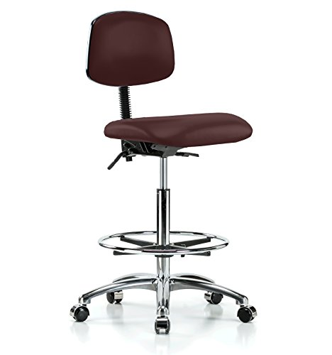 Perch Chrome Rolling Laboratory Chair With Footring and A...